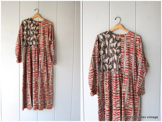 Vintage Indian Dress | Red Brown Block Print Frock | Embroidered Boho Ethnic Hippie Shirt Dress Cotton India Dress with Horses Womens Medium