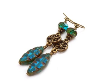Teal Blue Earrings - Picasso Czech Glass Spindle Beads - Bronze Filigree - Bohemian Dangle Earrings