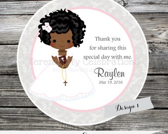 First Communion, Confirmation, Religious, Set of 12 Personalized Favor Tags, Stickers, Thank You Tag, Party Favors, Pink grey, damask