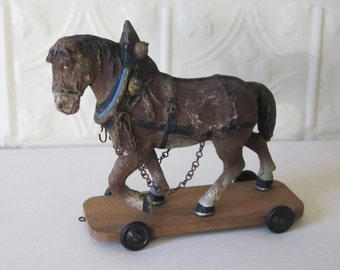 Antique Horse Pull Toy on Wooden Platform German