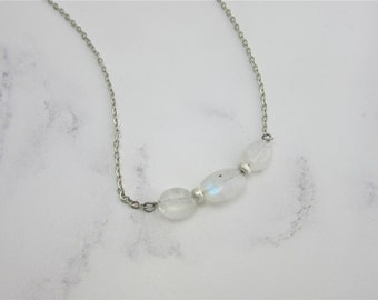 Rainbow Moonstone Oval and Sterling Silver Beads Necklace on 20 Inch Stainless Steel Chain, June Birthstone