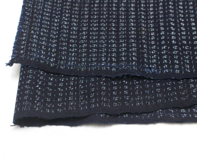 Hand Loomed Antique Cotton. Japanese Kasuri Kagasuri Ikat. Dark Indigo Blue Black. (Ref: 1598C)