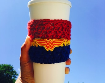 Wonder Woman Cup Cozy, Wonder Woman, Coffee Cozy, Cup Cozy, Cup Sleeve