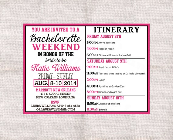 Items Similar To Bachelorette Party Weekend Invitation And