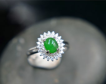 Sterling silver 925 purity with Burma green jade ring hand made  size can be adjusted