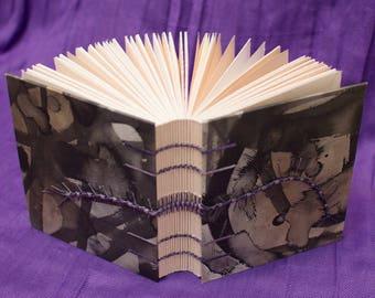 Handmade Coptic Bound Sketchbook - Purple and Black