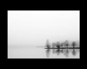 Black & White Photography-Lake Photography-Tree Photography-Serene Wall Art-Reflection-Landscape-Minimalist Art-Fine Art Print-Silhouette