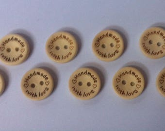 Set of 10 wooden buttons for sewing or scrapbooking