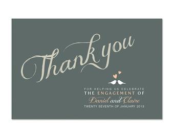 Fiançailles bricolage imprimable Merci carte personnalisé - nous sommes engagés