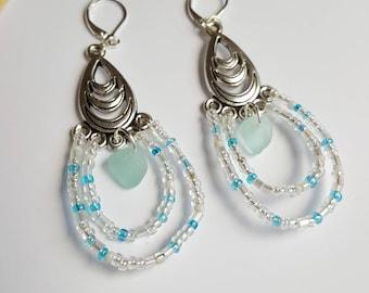 Aqua sea glass Earrings, Aqua sea glass, beads, sea glass earrings, Beach earrings, Beach glass, Aqua Seaglass, sea glass Jewelry