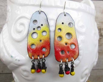 Colorful earrings Boho earrings Big earrings Gypsy earrings red dangle earrings Bohemian jewelry Artisan yellow earrings
