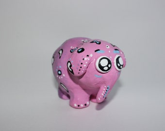 Cute hand made pink and purple elephant sculpture