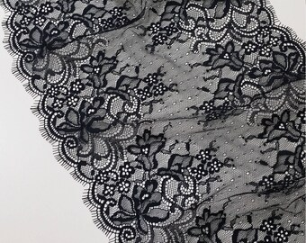 Black lace Trim, French Lace, Chantilly Lace, Bridal lace, Wedding Lace, Garter lace, Evening dress lace, Lingerie Lace by the yard LL4441