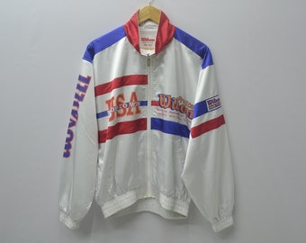 Wilson Jacket Vintage 90's Wilson USA Sweater Wilson Windbreaker Colorblock Activewear Size L
