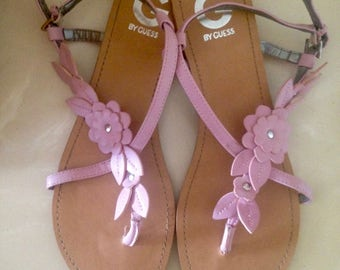 Clearance Sale Leather Sandals, GUESS Pink sandals, Strappy sandals, Thong Sandals, Summer flats, Pink Women's Shoes, Leather sandalow