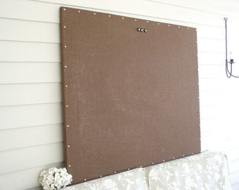 Huge X-Large MAGNETIC Board Chocolate Brown Burlap Memo Board 34 x 42 Bulletin Board Hardwood Construction Silver Tacks Kids Art Display