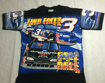 Dale Earnhardt Sr. Jr. vtg tee L/XL 90s all over print Two Faces of the 3 NASCAR