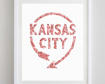 Kansas City Western Auto Sign Floral Watercolor Print