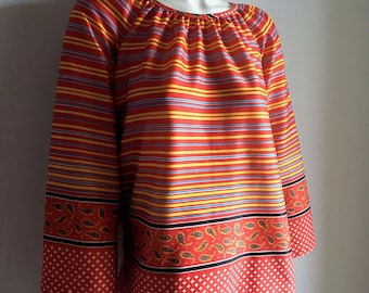 Vintage Women's 70's Boho Blouse, Red, Striped, Polyester, Bell Sleeve (XL)