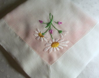 Vintage White Hanky with Hand Embroidered White Daisies - Hankie Handkerchief