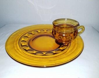Vintage Kings Crown Thumbprint Snack Set,Indiana Glass,Amber Glass ,Kings Crown Plate,Thumbprint,Snack Plate, Thumbprint Cup,1960s
