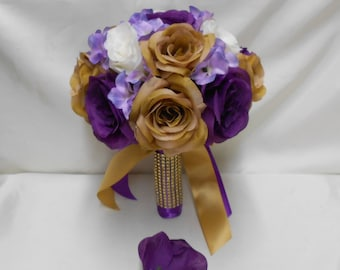 Wedding Silk Flower Bridal Bouquet Your Colors 2 pieces Ivory Gold Purple Rose Lavender Hydrangeas with Groom Boutonniere  FREE SHIPPING