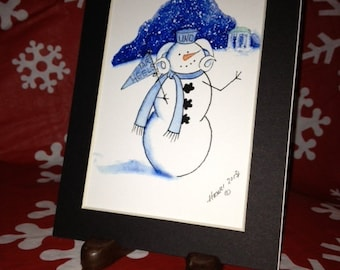 "UNC Snow Mascot - 5x7"" Print in Black Mat"