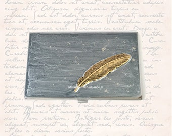 Raven Feather Business Card Case Inlaid in Hand Painted Enamel Silver with Silver Splash Custom Colors and Personalized Options