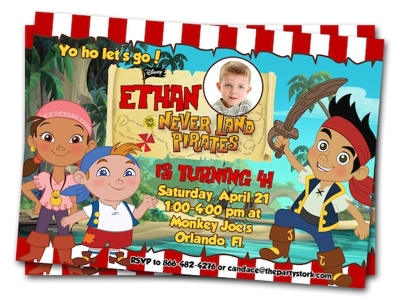 Jake and the neverland pirates invitations printable boys jake and the neverland pirates invitations printable boys custom pirate birthday party invitation 4 x 6 invites filmwisefo