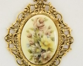 Vintage Florenza Hand Painted Floral Bouquet Pendant Necklace