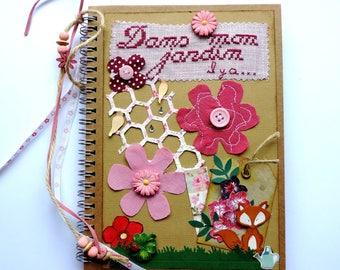Book-decorated, garden or secret garden theme journal, notebook, handmade