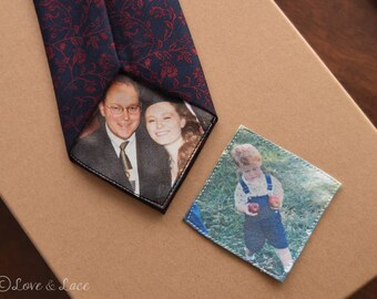 Custom Photo Tie or Suit Patch  | Groom Gift Favors | Father of the Bride | Groomsmen | Anniversary Present | FREE Gift Cases | Love Note