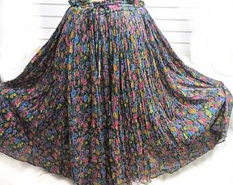 Vintage 1970 Indian cotton gauze Hippie skirt #452