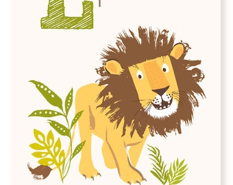 ABC Card L Is For Lion Wall Art Alphabet Flash Cards
