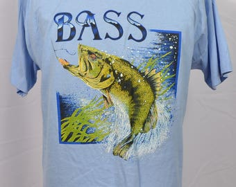 Vintage 90's 80's Bass Fishing T-Shirt Screen Stars Best 50/50 Blend Light Blue Made in USA Hobby Fisherman Catch XL Extra Large Boating