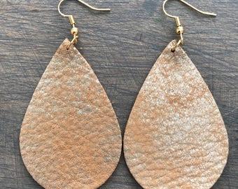 Mustard Gold Leather Teardrop Earring