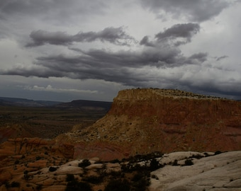 Near Ghost Ranch, Abiquiu, NM-Storm Approaching With Orphan Mesa - 0447  c