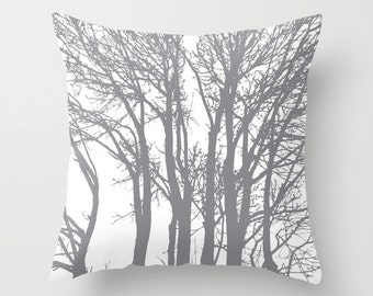 Modern Trees pillow with insert  - Slate Grey - Woodland Trees Forest Decorative pillow with insert - Rustic Home Decor - By Aldari Home