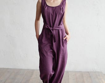 Linen jumpsuit ANNECY. Loose fitted overall suit. Stone washed linen. Washed linen jumpsuit. Womens clothing.