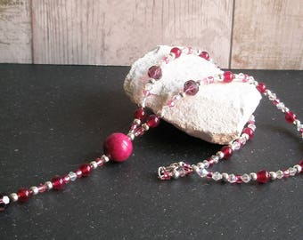 Pink Agate and Fossil Bead Necklace