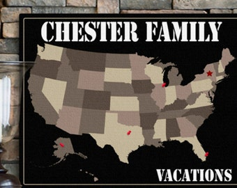 Americana Family Map Canvas - Personalized and add your vacation spots!
