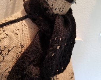 Black knit kerchief scarf. Handmade, Perfect Holiday Gift or compliment to any outfit when you just need a little hug of warmth