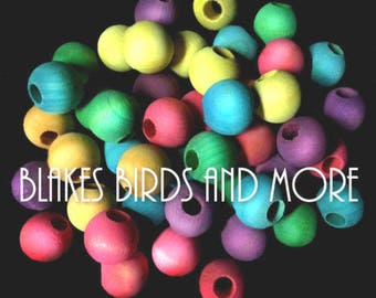 30 Large 1 inch Wood Balls with 3/8'' Hole- Bird Toy Parts
