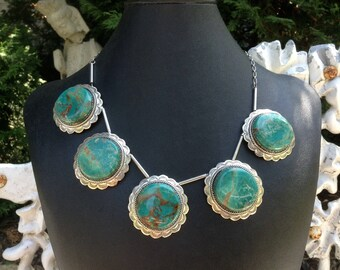 Native American Necklace / Southwest Turquoise Necklace Sterling Silver / Turquoise Necklace