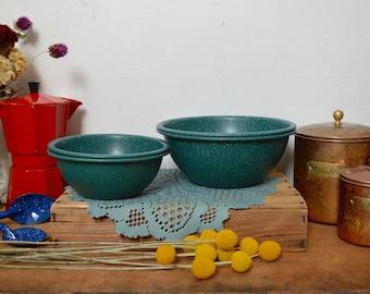Lot de 4 assiettes Vintage en émail moucheté vert bols Enamelware Camping russe