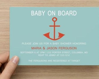 Printable Custom Baby Shower Invitations: Personalized Baby Boy Nautical  Shower Invitations.  Digital Download