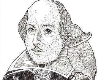 Sally Blanchard Original Pen and Ink Cartoon Drawing of Shakespeare with an African Grey Parrot both in Elizabethan Collars