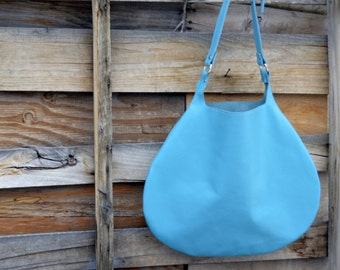 The Moon Tote Minimalist Leather Tote in Light Blue