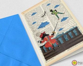 Peter Pan He's back card-birthday card-Invitation-Note card-Peter Pan card-quote card-Hook card-cool card-handmade card-blank card-NPGC026