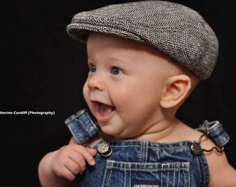 Herringbone baby hat, winter boy flat cap, boy winter hat, baby newsboy hat, gift for boy, baby boy gift - made to order